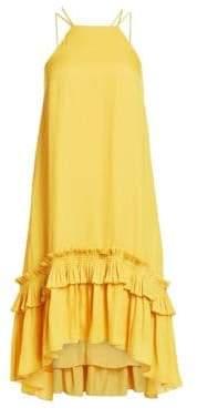 Halston Women's Sleeveless Halter Pleat-Hem Dress - Marigold - Size XS