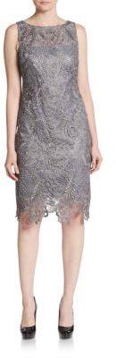 Metallic Floral Lace Sheath Dress $208 thestylecure.com