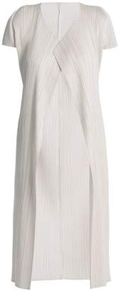 Pleats Please Issey Miyake Pleated Cover Up Coat - Womens - White