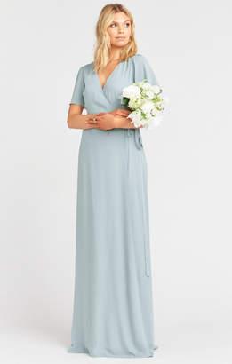 Show Me Your Mumu Noelle Flutter Sleeve Wrap Dress ~ Silver Sage Crisp