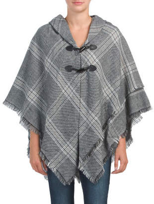 Woven Window Pane Plaid Cape