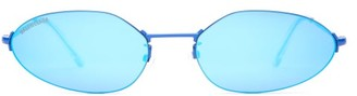 Balenciaga Mini Oval Metal Sunglasses - Womens - Blue