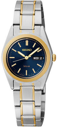 Seiko Womens Two-Tone Blue Solar Watch SUT110