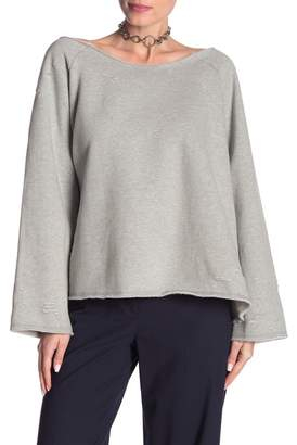POL Clothing Distressed Off-Shoulder Raglan Sweatshirt