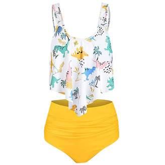 beafe49d4a9 Mia 2019 Womens High Waisted Bikini Set Flounce Top Two Piece Swimsuit  Bathing Suits Dinosaur Print