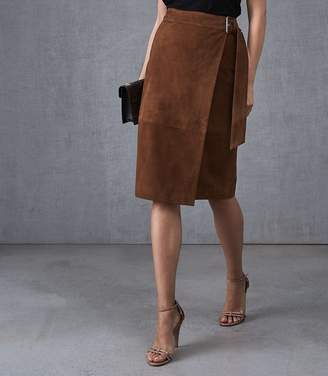 Reiss MILLY SUEDE MIDI SKIRT Brown