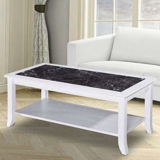 GranRest Marble Coffee Table Storage Shelf, Black W & White