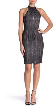 Bebe Metallic Knit Halter Dress