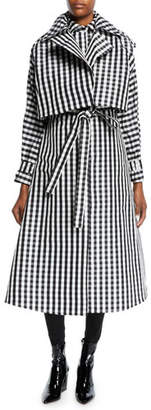 Paskal Belted Silk Gingham Long Trench Coat