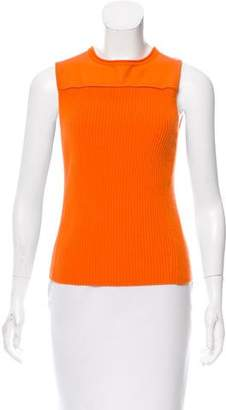 Reed Krakoff Leather-Accented Rib Knit Top
