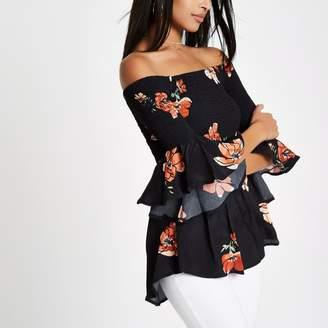 River Island Womens Black shirred floral bardot frill sleeve top
