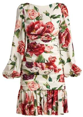Dolce & Gabbana Silk Blend Charmeuse Rose And Peony Print Dress - Womens - White Multi