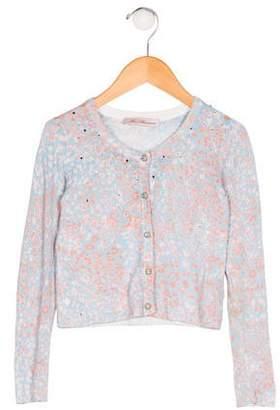Miss Blumarine Girls' Knit Printed Cardigan