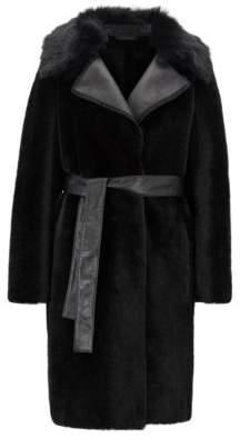 BOSS Hugo Shearling coat leather panels 6 Black