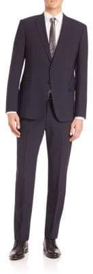 Giorgio Armani Solid Navy Wool Stretch Suit