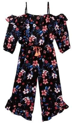 My Michelle mymichelle Floral Print Cold Shoulder Maxi Romper (Big Girls)