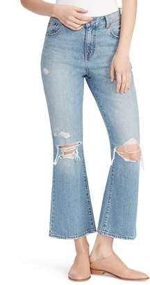 Ella Moss Ripped High Waist Crop Flare Jeans