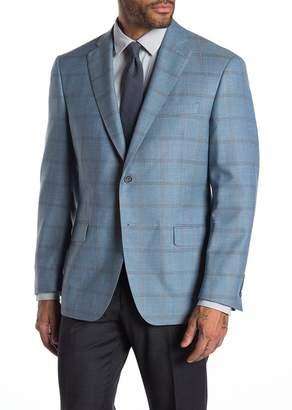 Hart Schaffner Marx Light Blue Check Two Button Notch Lapel Wool Blend Suit Separates Jacket