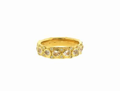 Emily Armenta Lacy Pear Shaped Sapphire Stack Band in Yellow Gold