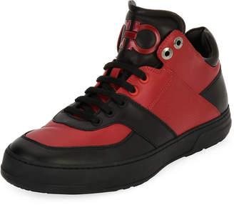 Salvatore Ferragamo Men's Leather Mid-Top Sneakers, Black/Red (Nero/Rosso)