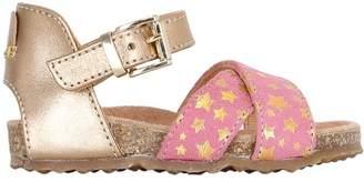 Ocra Stars Print Suede Sandals