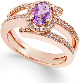 Macy's Purple Sapphire (1/2 ct. t.w.) and Diamond (1/3 ct. t.w.) Ring in 14k Rose Gold