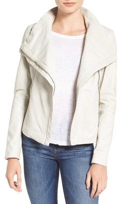 Women's Lamarque Funnel Neck Moto Jacket $495 thestylecure.com