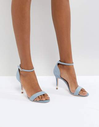 Dune London Barely There Heeled Sandal in Cornflower Blue Leather and Pearl Detail