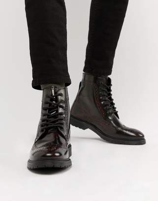 Asos Design DESIGN lace up brogue boots in burgundy leather with ribbed sole