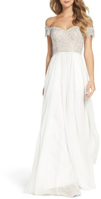 Women's La Femme Off The Shoulder Ballgown $448 thestylecure.com