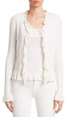 Saks Fifth Avenue COLLECTION Ruffle-Trim Ribbed Cardigan