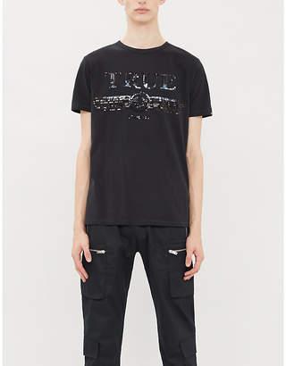 True Religion Sequinned-logo cotton-jersey T-shirt