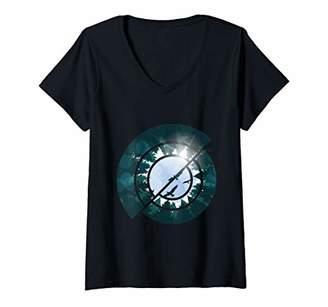 Womens Forest sky with birds geometric design V-Neck T-Shirt