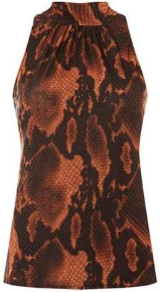 Dorothy Perkins Womens Brown Snake Print Halter Neck Top