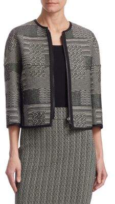 Akris Punto Women's Graphic Jacquard Jacket - Black Cream - Size 2