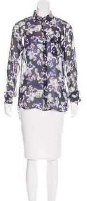 Marissa Webb Silk Floral Print Blouse