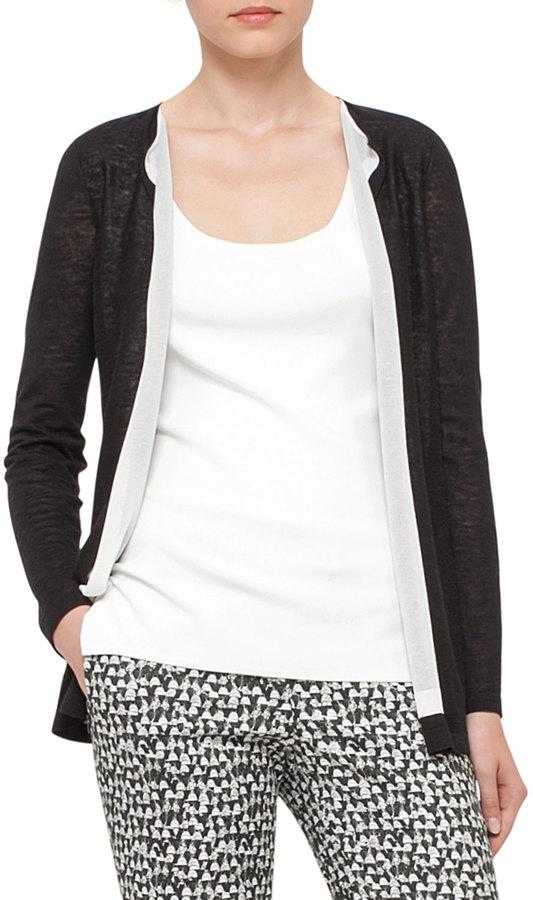 AkrisAkris Knit Open-Front Cardigan, Black/White