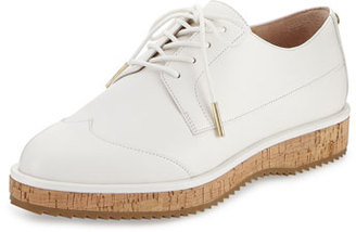 MICHAEL Michael Kors Zane Leather Lace-Up Oxford, Optic White $175 thestylecure.com