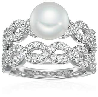 Swarovski Platinum Plated Sterling Silver Zirconia Cultured Freshwater Pearl Infinity Bridal Ring Set