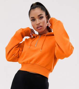 Asos DESIGN Petite cropped hoodie with half zip in blood orange