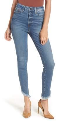 Good American Good Waist Slash Fray Skinny Jeans