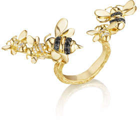 Mimi So Wonderland 18K Gold Open-Shank Bee Ring, Size 6