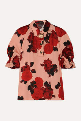 Mother of Pearl Petra Embellished Floral-print Ruched Satin Blouse - Pink