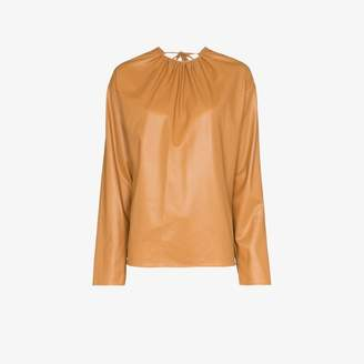 we11done open back faux leather blouse