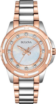 Bulova Womens Two-Tone Mother-of-Pearl Diamond-Accent Watch 98P134