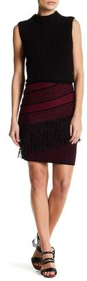 Romeo & Juliet Couture Patterned Knit Fringe Pencil Skirt
