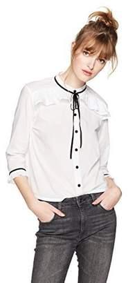 Serene Bohemian Women's Fancy Tie-up Collar Shirt Lt Green