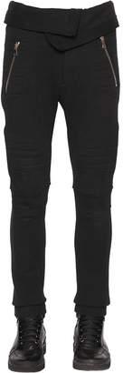 Balmain Cotton Jersey Pants W/ Biker Details