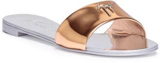Giuseppe Zanotti Shirley metallic rose gold leather slides