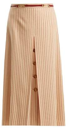 Gucci Inverted Pleat Pinstripe Wool Midi Skirt - Womens - Red Stripe